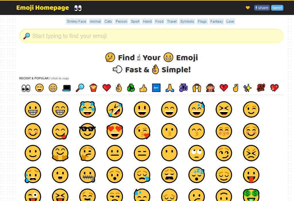 😄絵文字を一覧から選んだり検索したりできる「Emoji Homepage」👀
